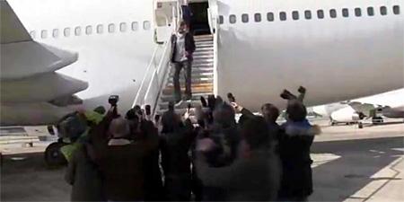 Tony Parker au Bourget à bord du Boeing 747 F-BPVJ